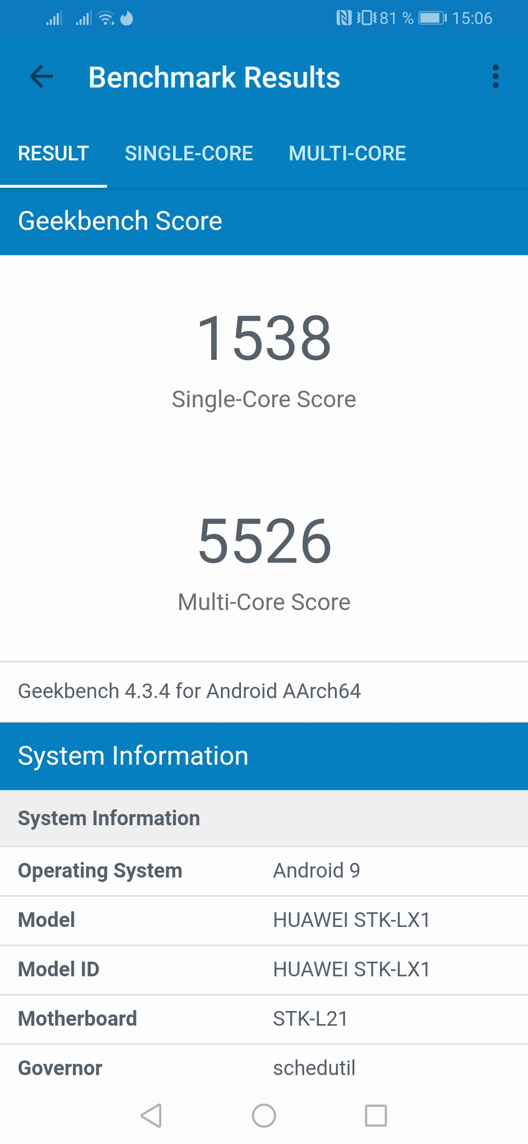 Huawei P Smart Z Geekbench 4