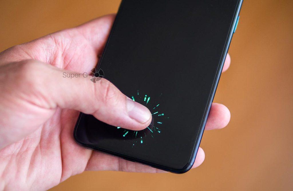 Сканер отпечатков пальцев в экране Oppo Reno 10x Zoom