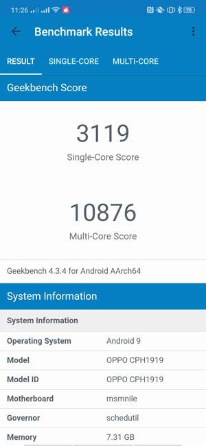 Тест производительности OPPO Reno 10x Zoom в Geekbench 4