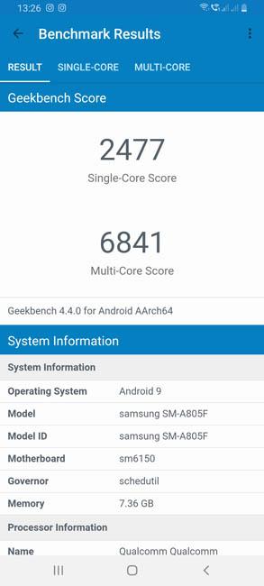 Samsung Galaxy A80 тест в Geekbench 4