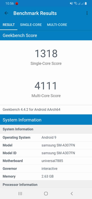 Samsung Galaxy A30s тест Geekbench 4