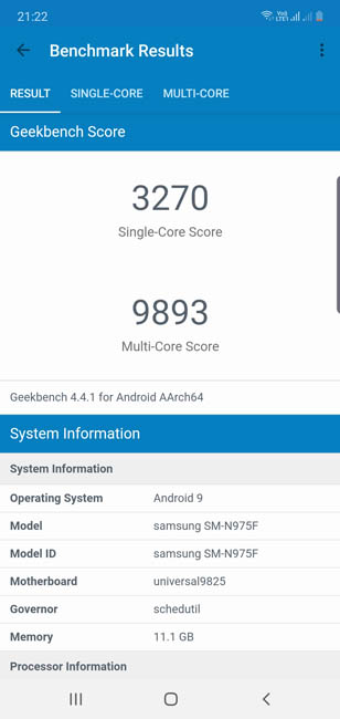 Samsung Galaxy Note 10 plus Geekbench 4