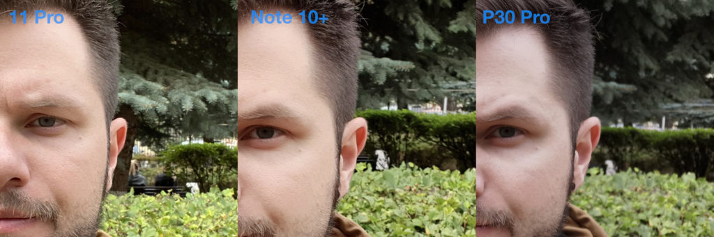 Сравнение фронталок iPhone 11 и Samsung Note 10 Plus и Huawei P30 Pro