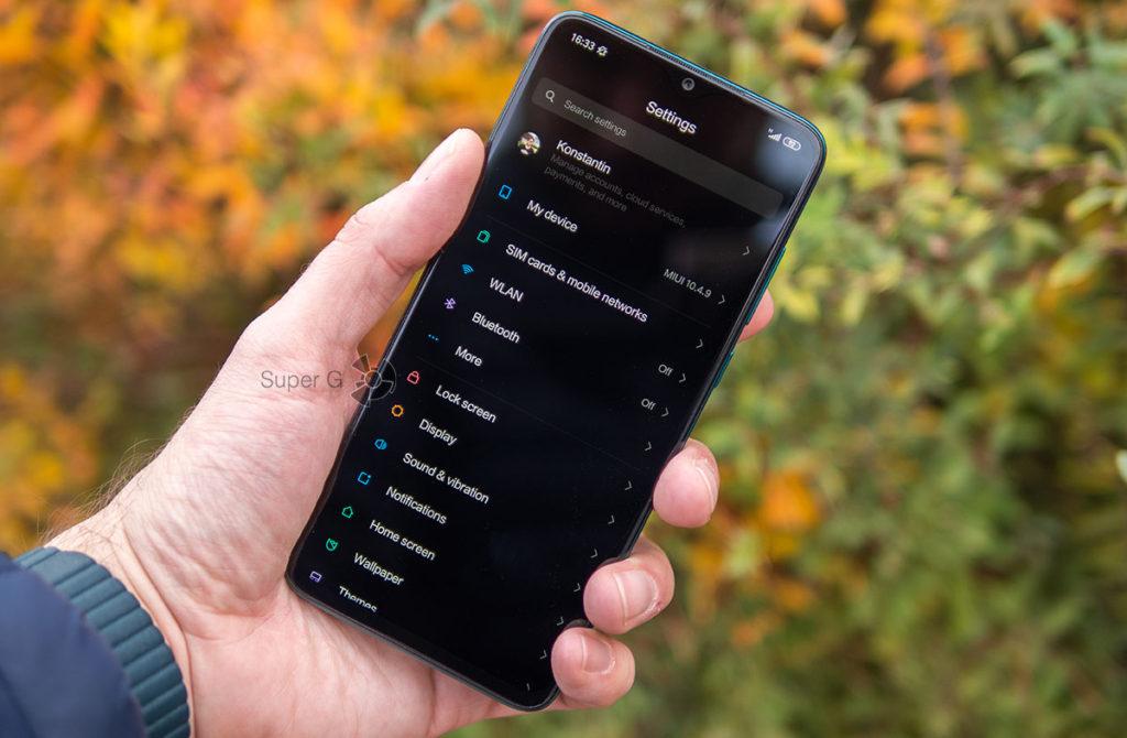 Чёрная тема Redmi Note 8 Pro