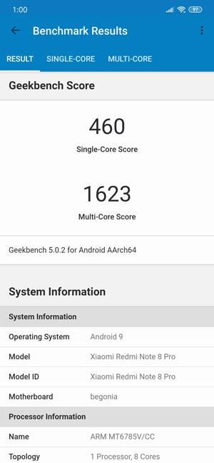 Geekbench 4 Redmi Note 8 Pro