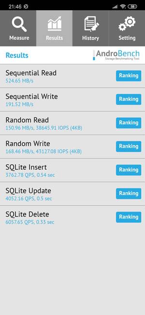 Скорость чтения памяти Redmi Note 8 Pro