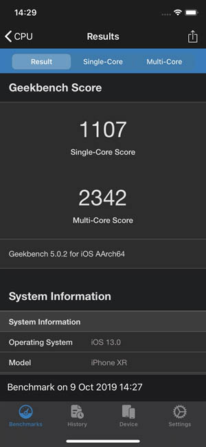 Тест iPhone XR Geekbench 5