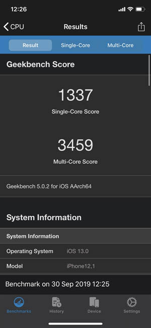 Тест iPhone 11 Geekbench 5