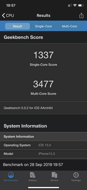 iPhone 11 Pro в тесте Geekbench 5