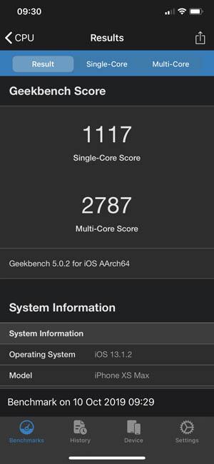 iPhone XS Max в тесте Geekbench 5