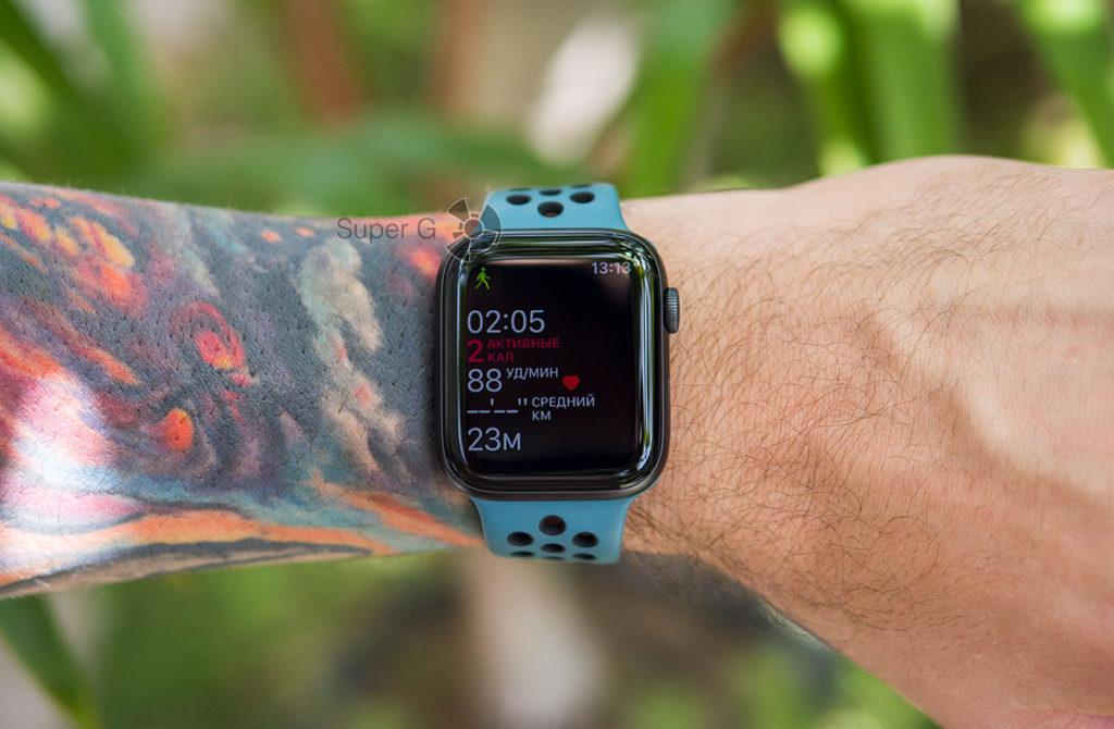 Ждущий режим экрана в режиме тренировки Apple Watch 5