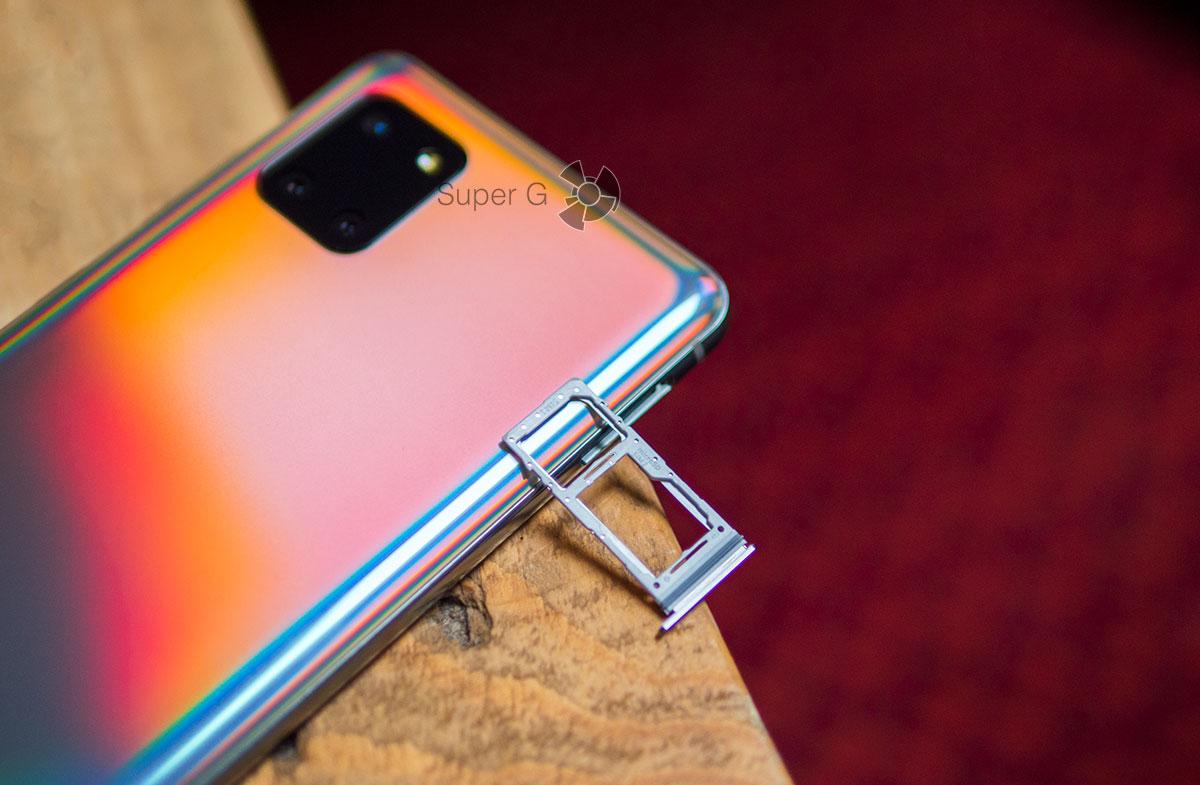 Слот для SIM-карт в Samsung Galaxy Note 10 Lite комбинированный с Micro SD
