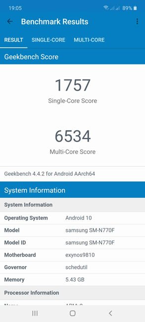 Samsung Galaxy Note10 Lite Geekbench 4
