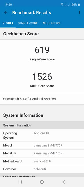 Samsung Galaxy Note 10 Lite Geekbench 5