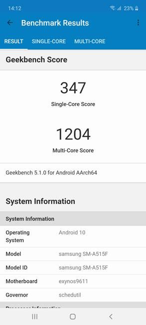 Samsung Galaxy A51 тест Geekbench 5