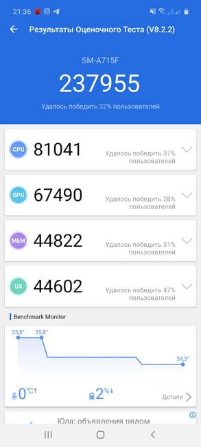 Samsung Galaxy A71 AnTuTu