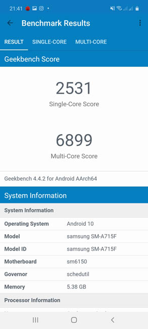Samsung Galaxy A71 Geekbench 4
