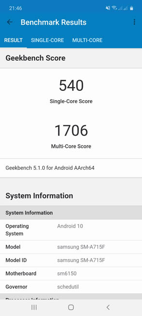 Samsung Galaxy A71 Geekbench 5