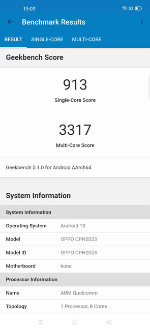 OPPO Find X2 Geekbench 5