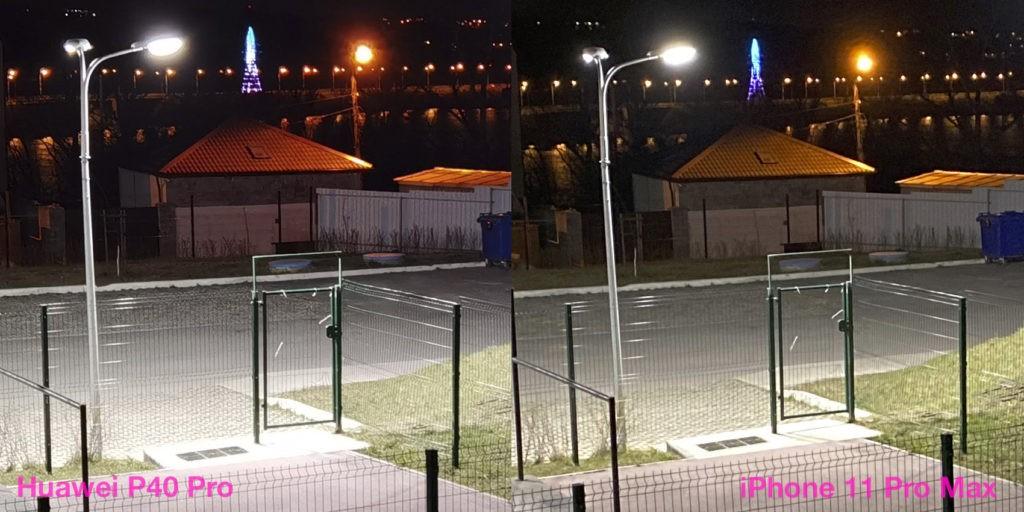 Ночная съёмка на основную камеру Huawei P40 Pro и iPhone 11 Pro Max