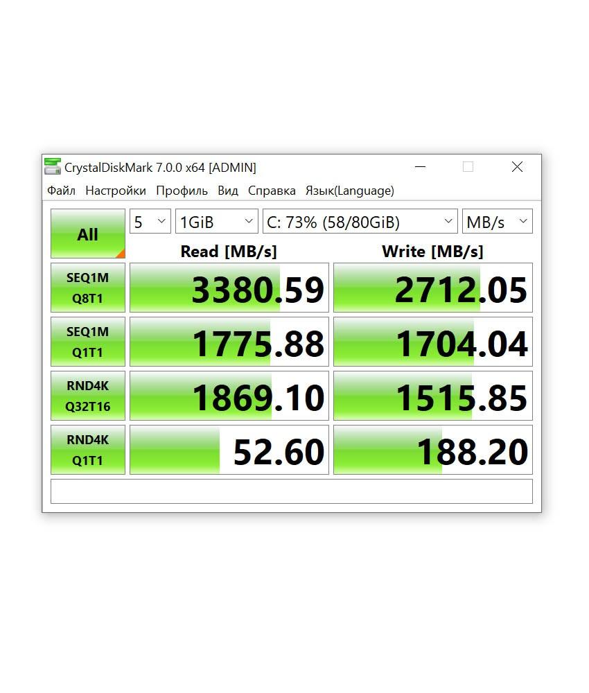 CrystalDiskMark 7 скорость чтения ssd диска Huawei Matebook 13 2020