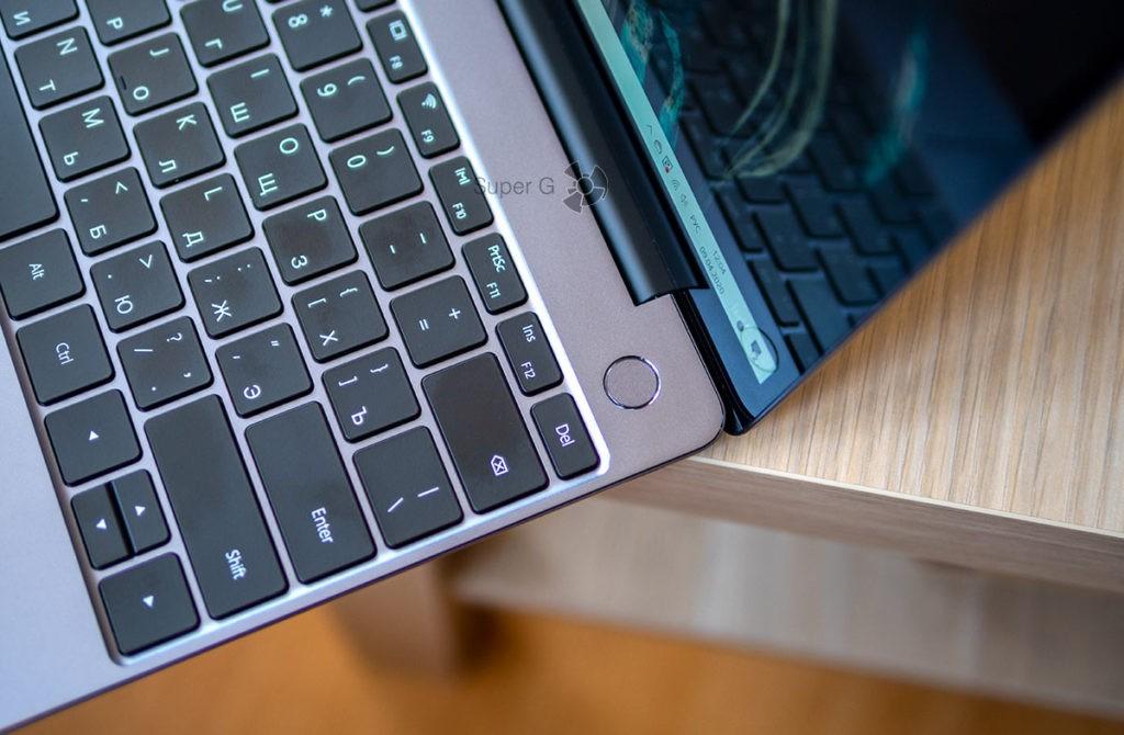 Huawei Matebook 13 2020 сканер отпечатков пальцев встроен в кнопку включения