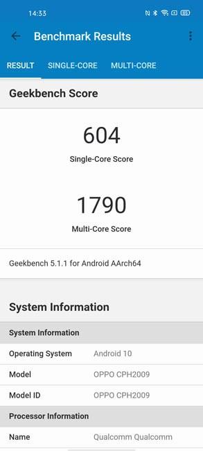 OPPO Reno 3 Pro Geekbench 5