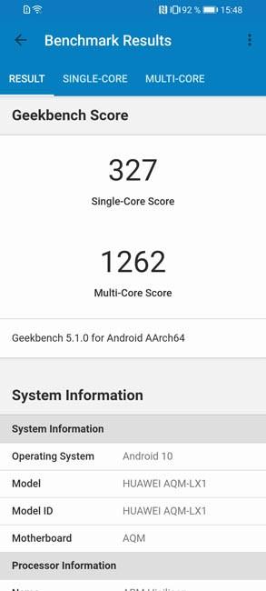 Geekbench 5 Huawei Y8p