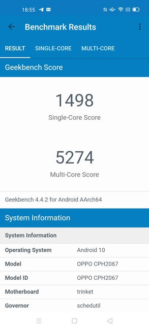 OPPO A72 Geekbench 4