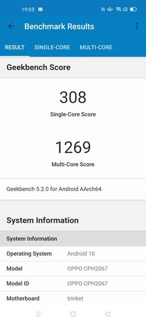 OPPO A72 Geekbench 5