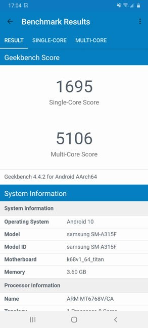 Samsung A31 Geekbench 4