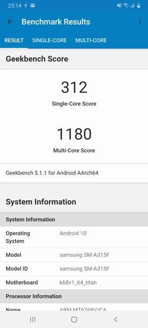 Samsung A31 Geekbench 5