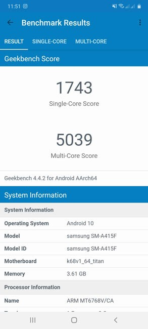 Samsung Galaxy A41 Geekbench 4