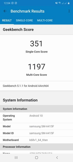 Samsung Galaxy A41 Geekbench 5