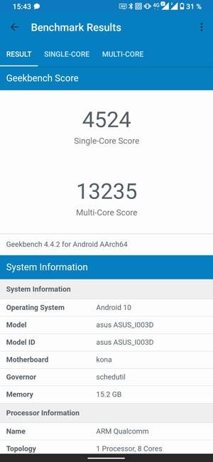 ASUS ROG Phone 3 Geekbench 4