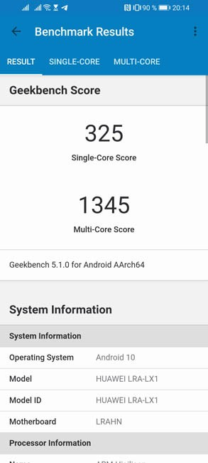 Тест Geekbench 5 Honor 30i