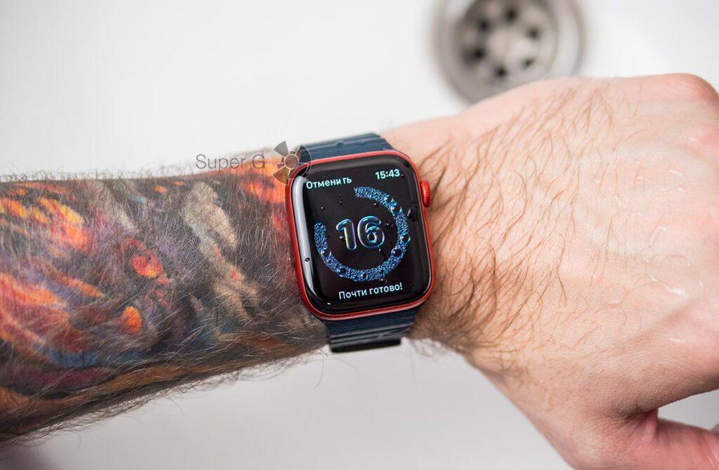 Apple Watch Series 6 мытье рук 20 секунд