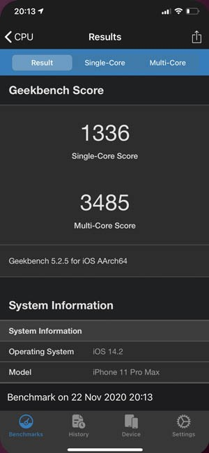 Geekbench 5 iPhone 11 Pro Max