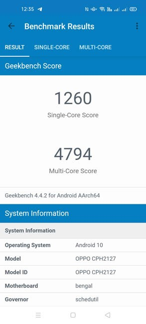 OPPO A53 Geekbench 4