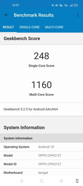 OPPO A53 Geekbench 5