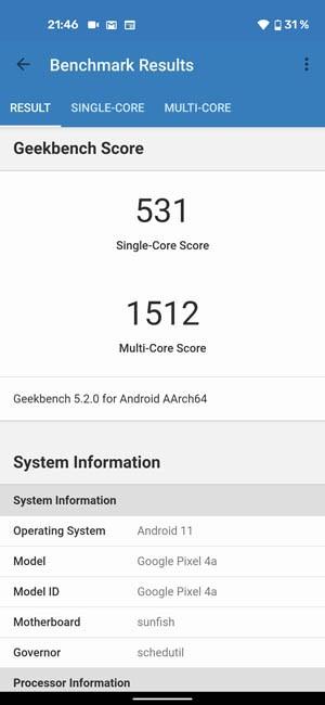 Pixel 4A Geekbench 5