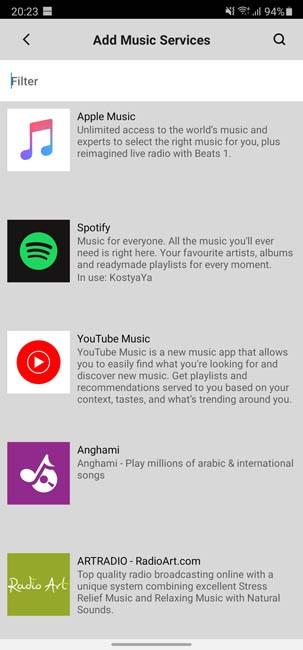 Каталог музыкальных сервисов Sonos