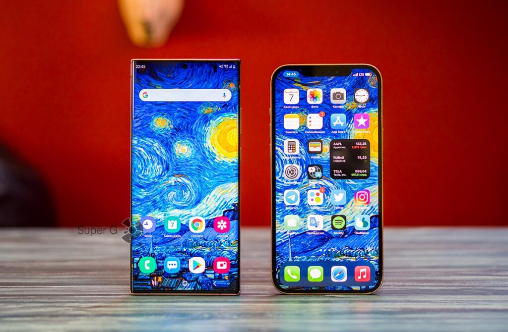 Экраны Samsung Note 20 Ultra и iPhone 12 Pro Max