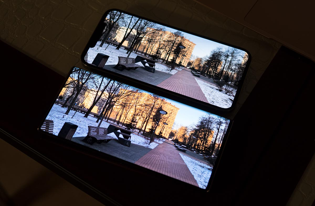 HDR-видео на экране iPhone 12 Pro Max и Samsung