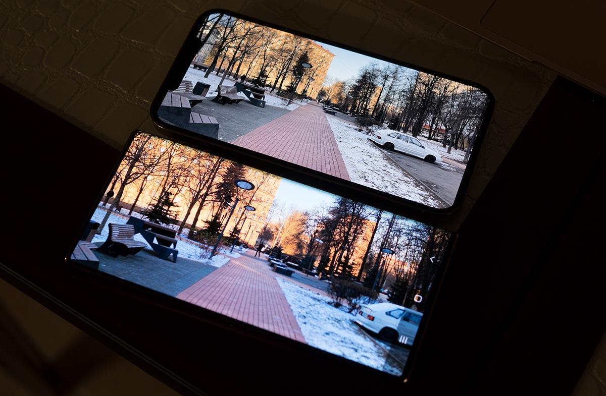 Обычное видео на экране iPhone 12 Pro Max и Samsung