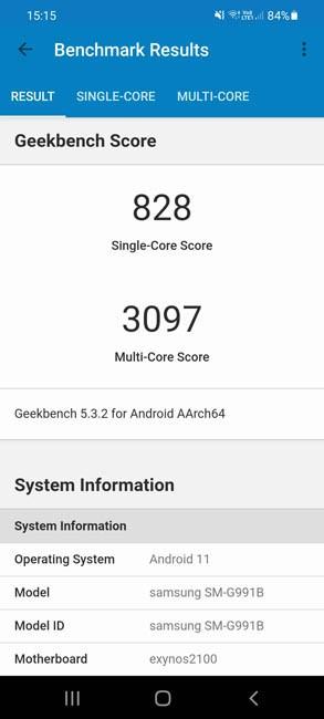 Samsung Galaxy S21 Geekbench 5