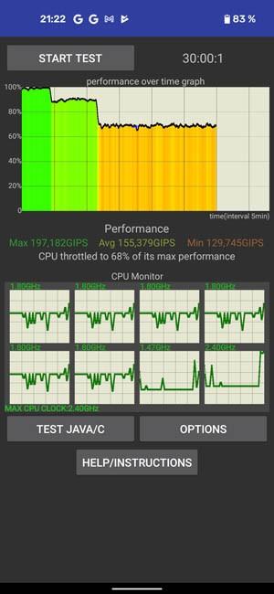 CPU Throttling test Google Pixel 5 100