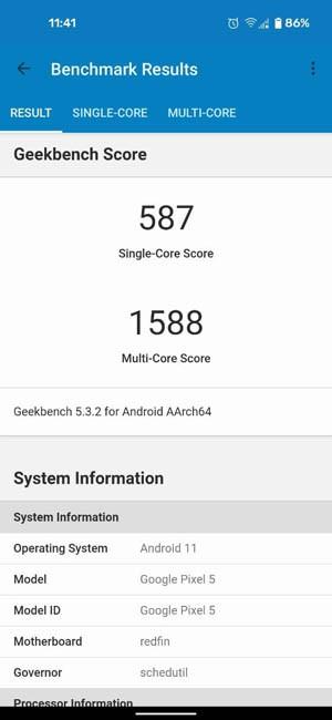 Geekbench 5 Google Pixel 5