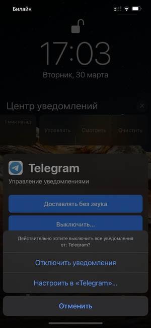 Отключить уведомления iOS