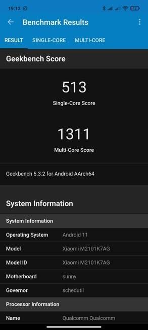 Redmi Note 10 Geekbench 5